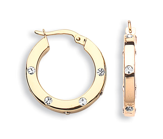 9ct Yellow Gold with Cubic Zirconia Hoop Earrings