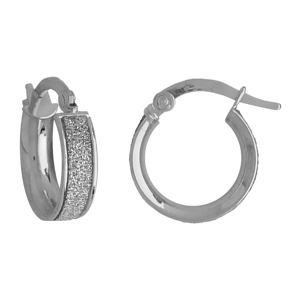 9ct White Gold Small 'Moondust' Hoop Earrings