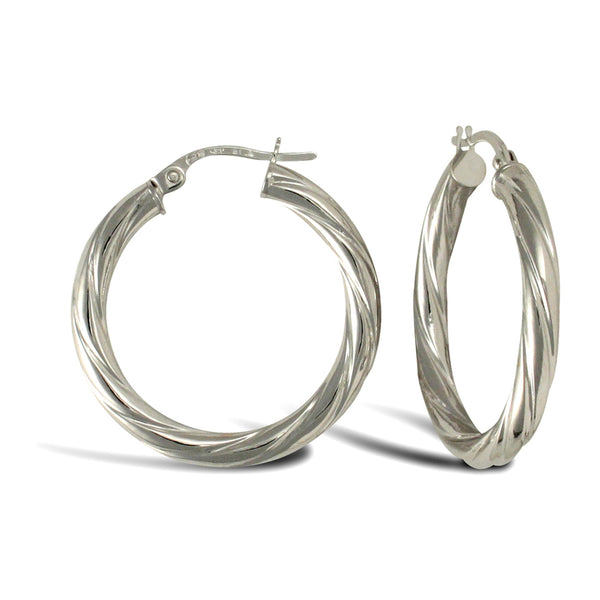 9ct White Gold 24mm Twist Hoop Earrings