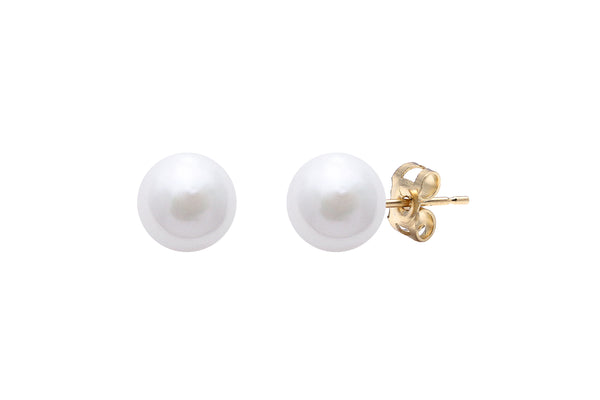 9ct Yellow Gold 7mm White 'Akoya' Pearl Stud Earrings