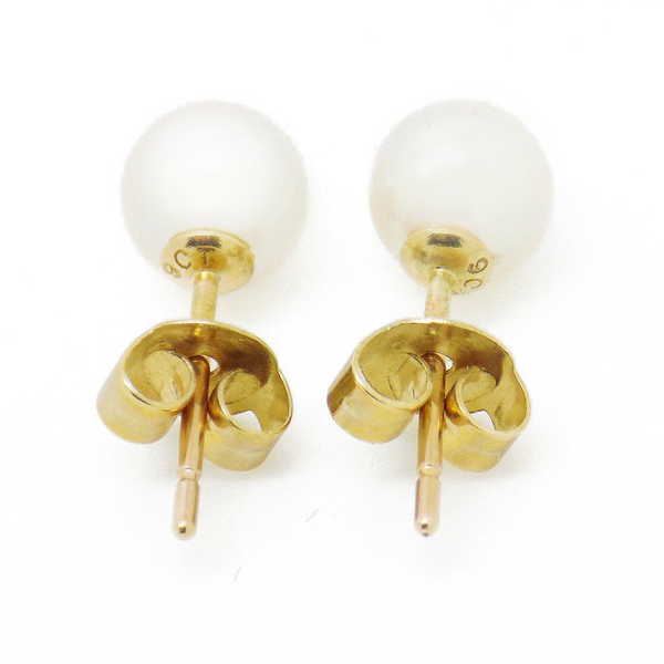 9ct Yellow Gold 5mm Akoya Pearl Stud Earrings Reverse
