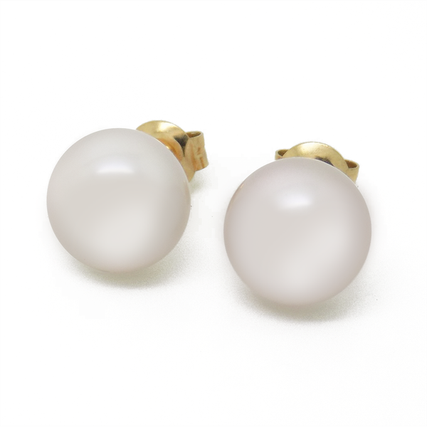 9ct Yellow Gold Lavender Cultured Freshwater Pearl Earrings