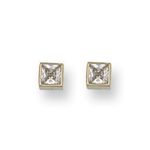 9ct Yellow Gold Square CZ Stud Earrings