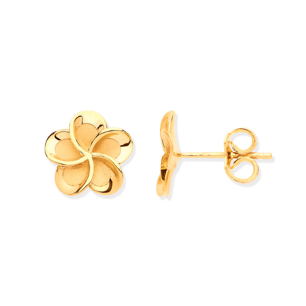 9ct Yellow Gold with Frosty Detail Flower Stud Earrings