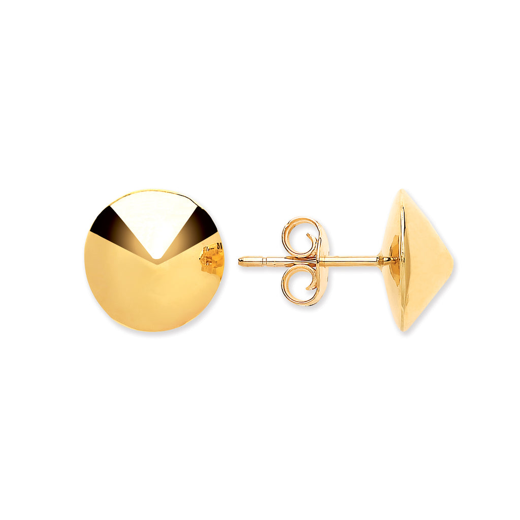 9ct Yellow Gold Cone Spike Stud Earrings