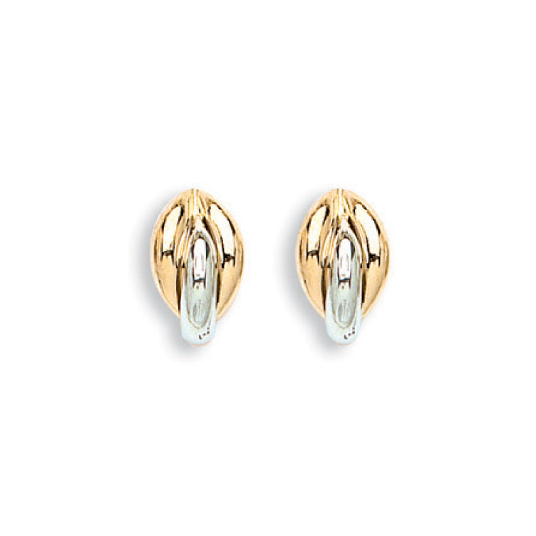 9ct Yellow and White Gold Fancy Stud Earrings