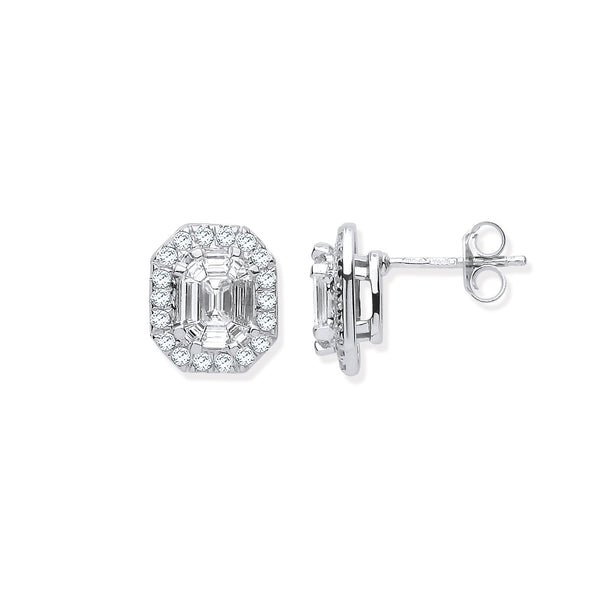 18ct White Gold Emerald Cut, Baguette & Round Diamond Stud Earrings 1.40ct