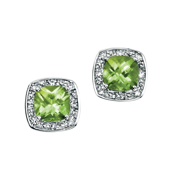 'Elements' 9ct White Gold Square Peridot & Diamond Cluster Stud Earrings