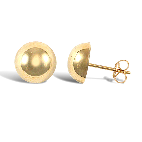 9ct Yellow Gold 8mm D-Profile Stud Earrings