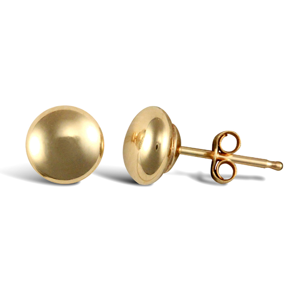 9ct Yellow Gold 6mm Button Shape Stud Earrings