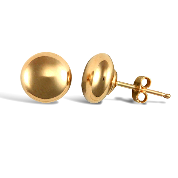 9ct Yellow Gold 7mm Button Shape Stud Earrings