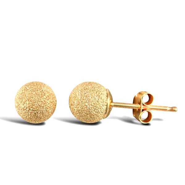 9ct Yellow Gold 5mm Frosted Ball Stud Earrings