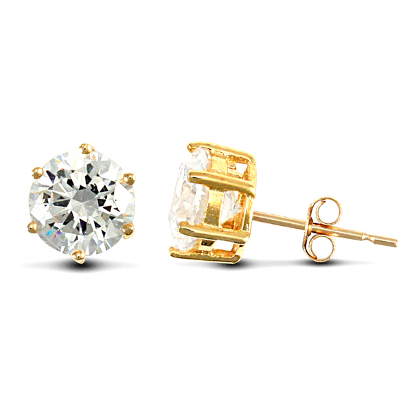 9ct Yellow Gold 6mm CZ Stud Earrings