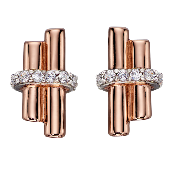'Fiorelli' Sterling Silver and Rose Gold Plated Clear Cubic Zirconia Tubular Stud Earrings