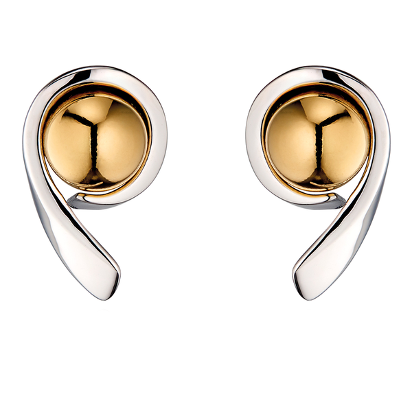 'Fiorelli' Sterling Silver and Yellow Gold Plated Ball Swirl Stud Earrings