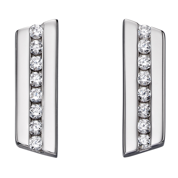 'Fiorelli' Sterling Silver Cubic Zirconia Channel Set Bar Stud Earrings