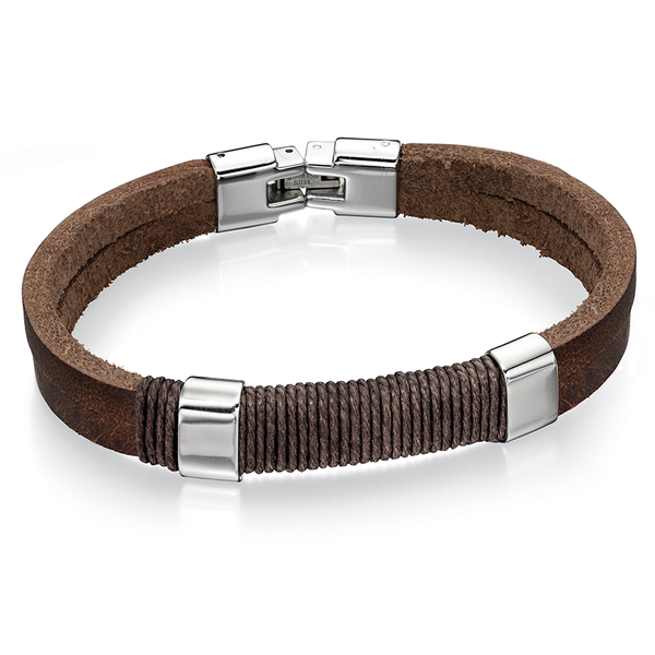 'Fred Bennett' Stainless Steel Brown Leather Wrapped Cord Bracelet 8.5''