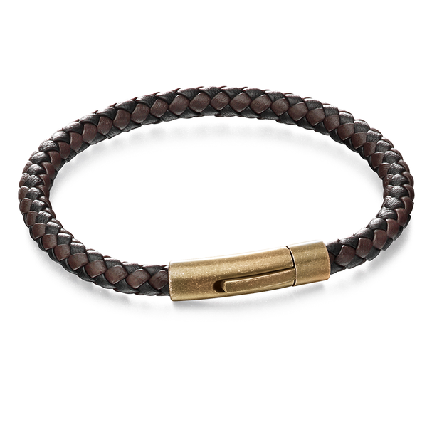 'Fred Bennett' Stainless Steel Brown Leather Magnetic Bracelet 8.5''