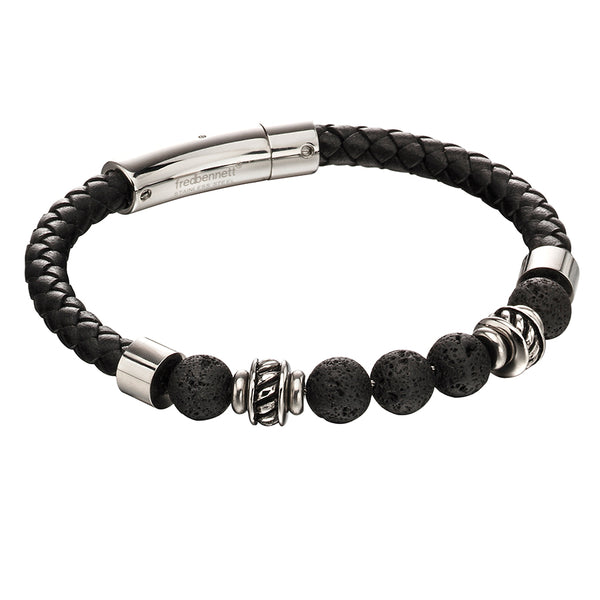 'Fred Bennett' Stainless Steel Black Leather Lava Bead Bracelet