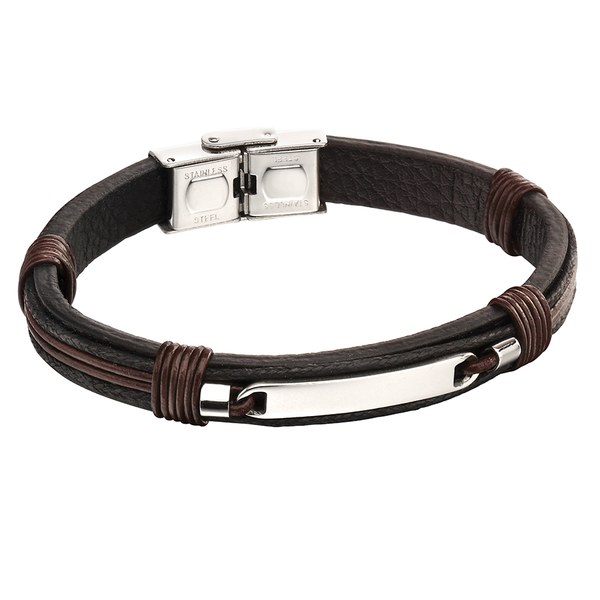 'Fred Bennett' Stainless Steel Black/Brown Strand ID Bracelet