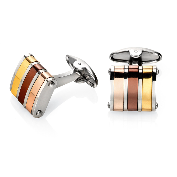 'Fred Bennett' Stainless Steel 3 Colour Gold/Brown/Rose Square Bar Link Cufflinks