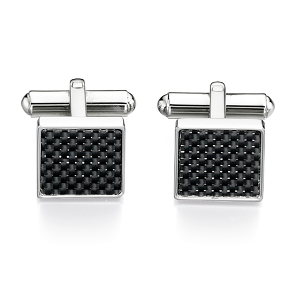 'Fred Bennett' Stainless Steel Black Carbon Fibre Square Bar Link Cufflinks