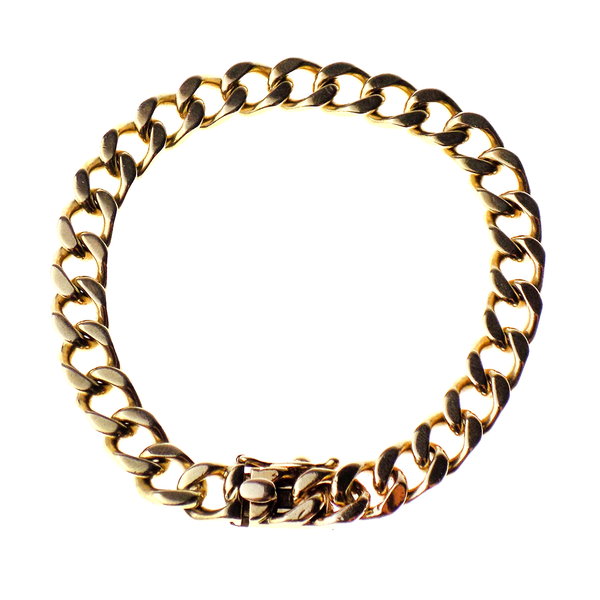 "Pre-Loved 9ct Yellow Gold 7 1/2"" Solid Curb Bracelet"