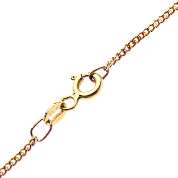 Pre-Loved 9ct Yellow Gold Single Diamond Pendant & Chain - Fastening Detail