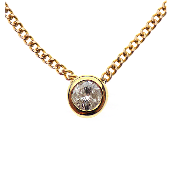 Pre-Loved 9ct Yellow Gold Single Diamond Pendant & Chain