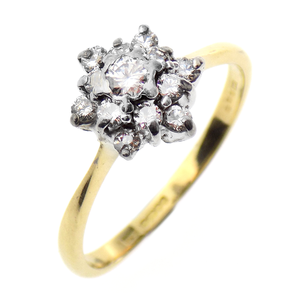 Pre-Loved 18ct Yellow Gold Diamond Cluster Ring