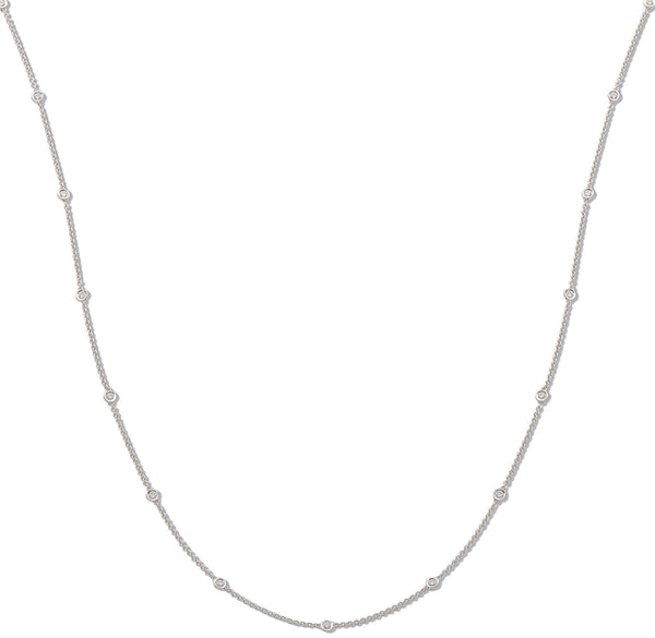 "18ct White Gold Twenty-Eight Diamond 30"" Chain Necklace"