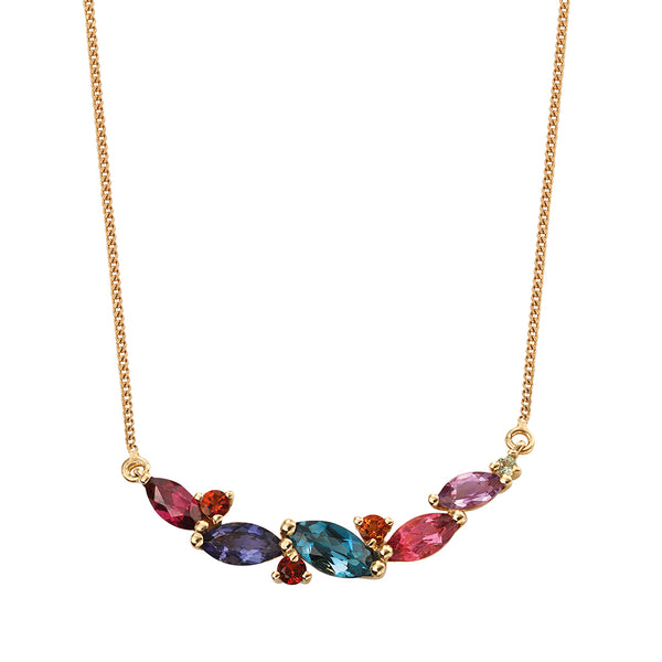 'Elements' 9ct Yellow Gold Marquise Shape Multi Stone Necklace
