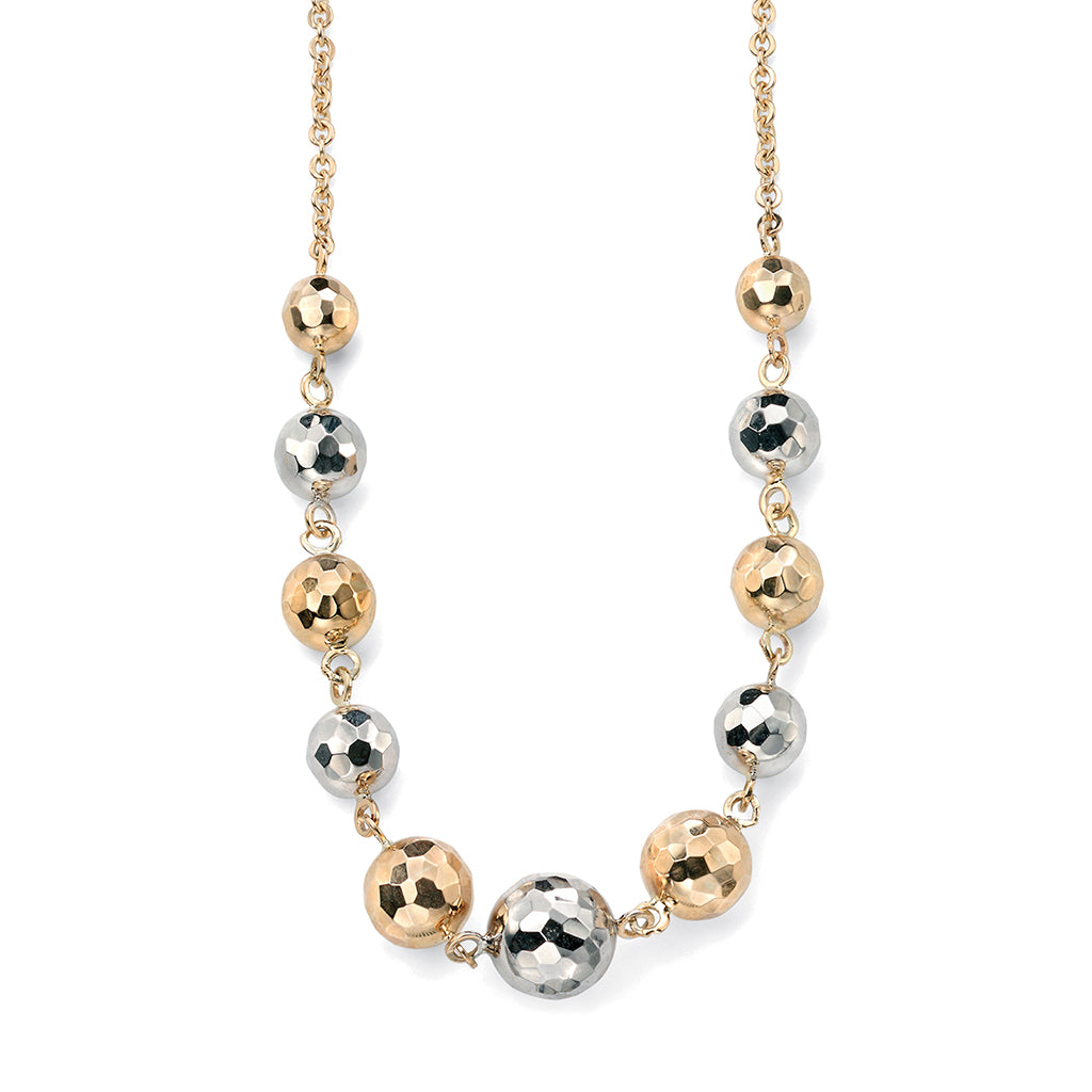'Elements' 9ct Yellow & White Gold 'Disco' Ball Bead Necklace