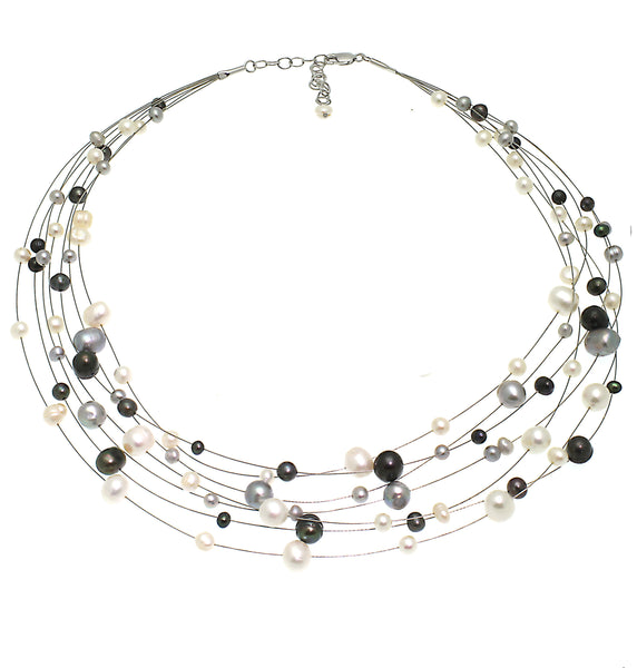 'Lido' Sterling Silver Seven Strand Mixed Grey & Black Freshwater Pearl Necklace