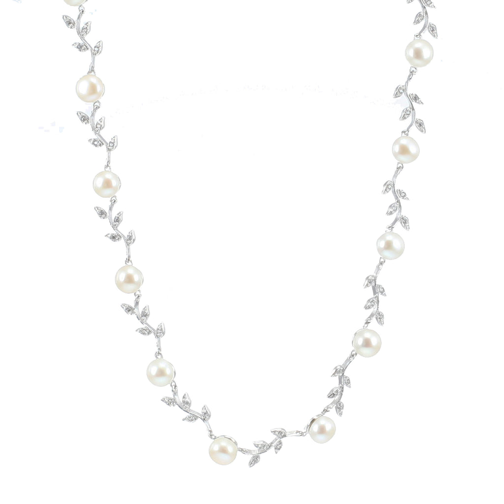 'Lido' Sterling Silver Freshwater Pearl & Cubic Zirconia Leaf Design Necklace
