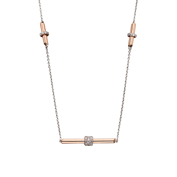 'Fiorelli' Silver Silver and Rose Gold Plated Cubic Zirconia Tubular Necklace