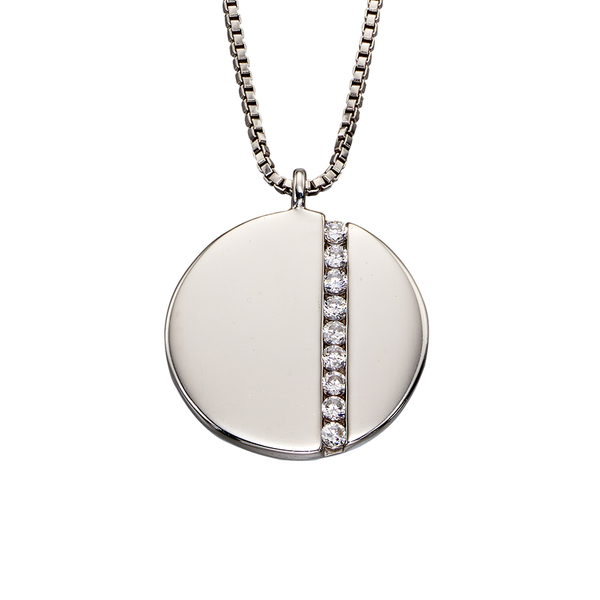 'Fiorelli' Sterling Silver Cubic Zirconia Disc Drop Necklace