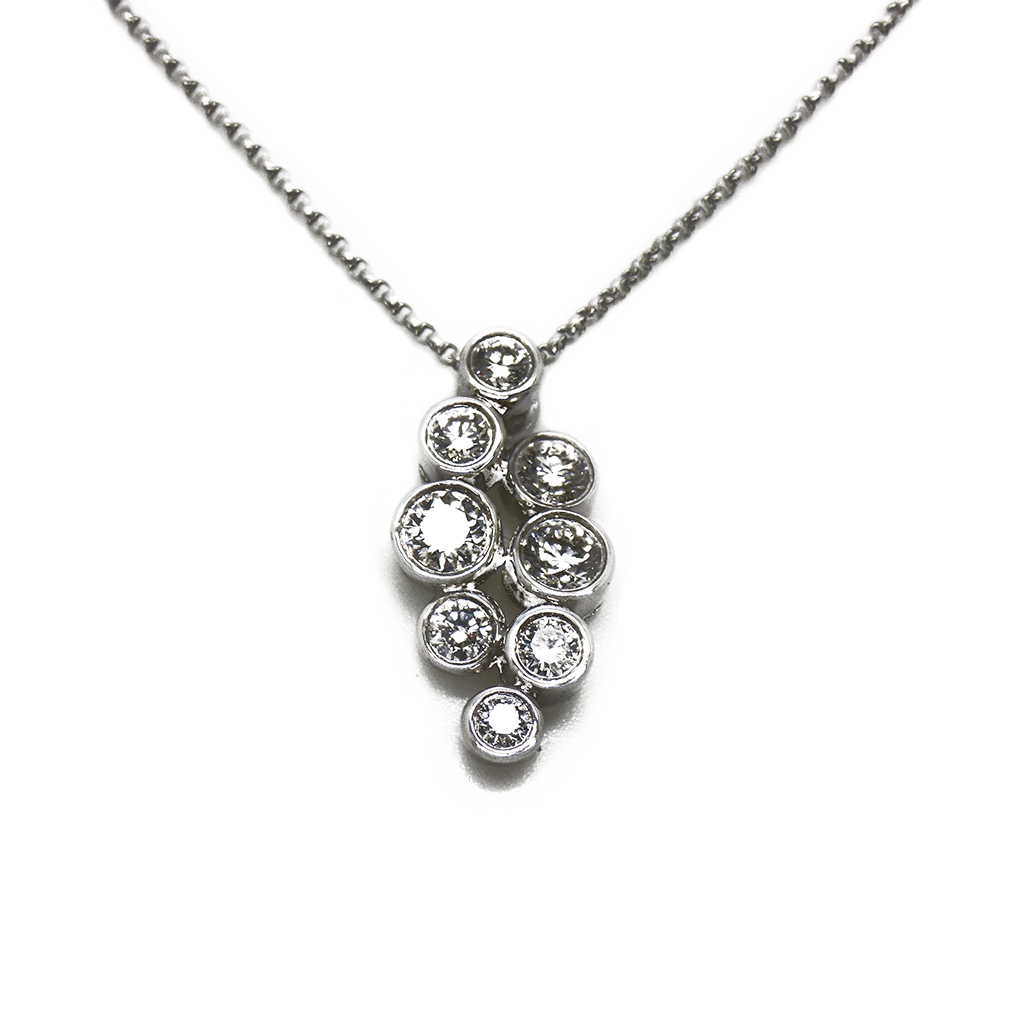 18ct White Gold Diamond Drop Pendant & Chain