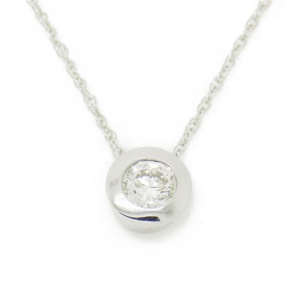 9ct White Gold Certified 0.20ct Round Diamond Slider Rubover Pendant & Chain