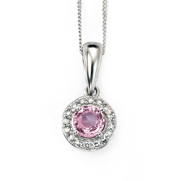 'Elements' 9ct White Gold Pink Sapphire & Diamond Cluster Pendant
