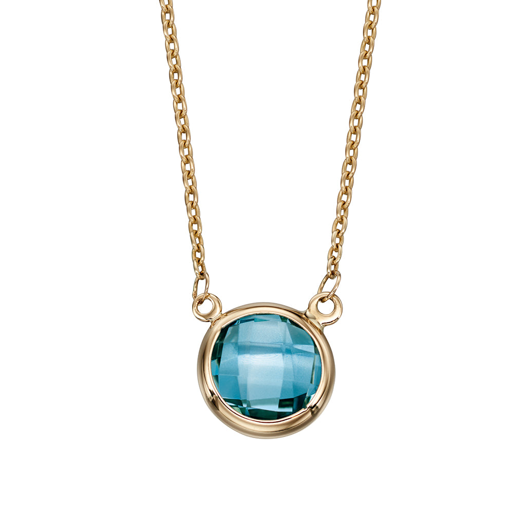 'Elements' 9ct Yellow Gold Blue Topaz Pendant & Chain
