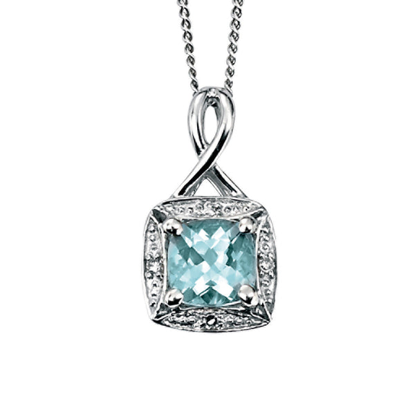 'Elements' 9ct White Gold Square Aquamarine & Diamond Cluster Pendant