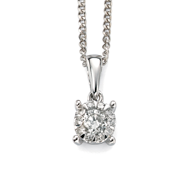 'Elements' 9ct White Gold Diamond Cluster Pendant
