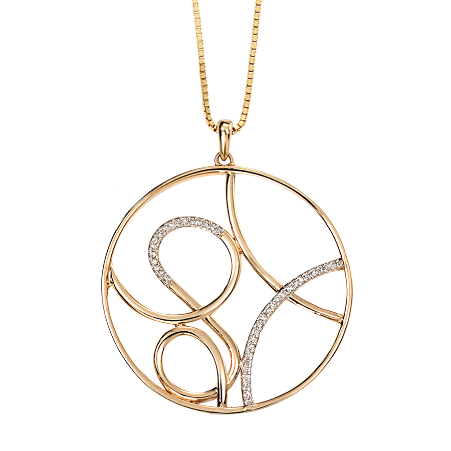 'Elements' 9ct Yellow Gold Diamond Round Scroll Pendant
