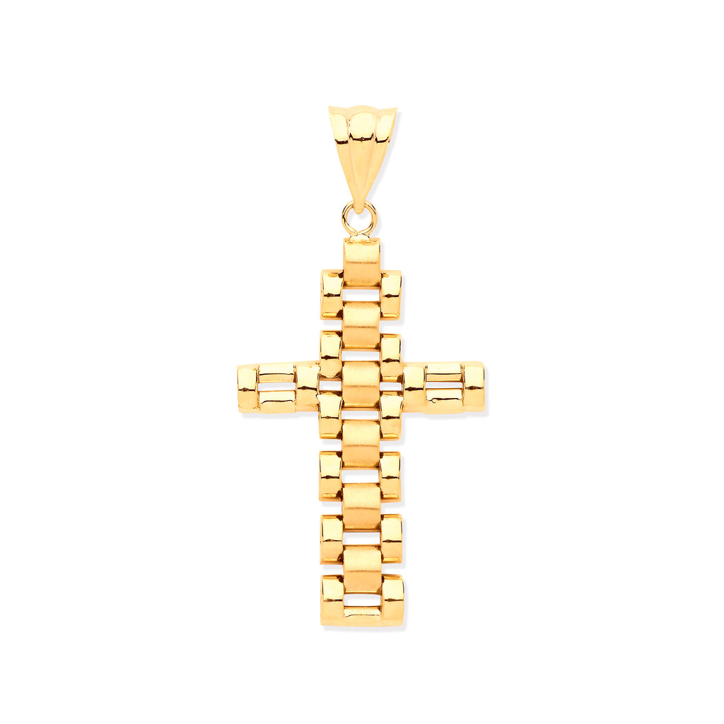 9ct Yellow Gold Fancy Link Cross Pendant