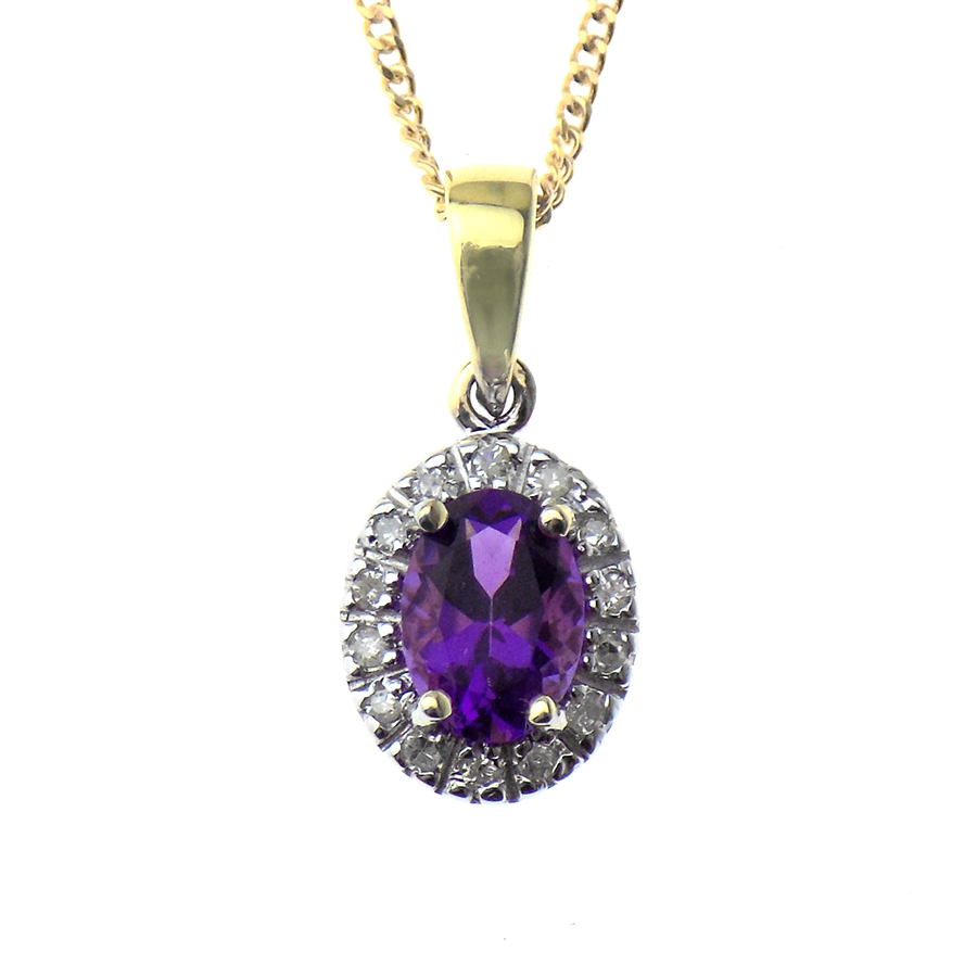 "9ct Yellow Gold Diamond and Amethyst Pendant & 18"" Chain"