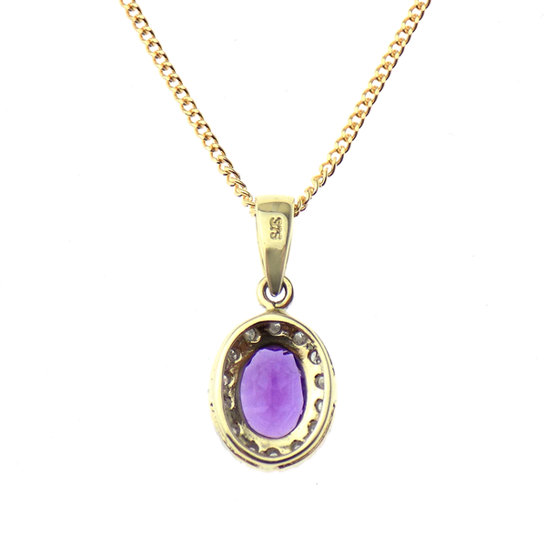 "9ct Yellow Gold Diamond and Amethyst Pendant & 18"" Chain Reverse"