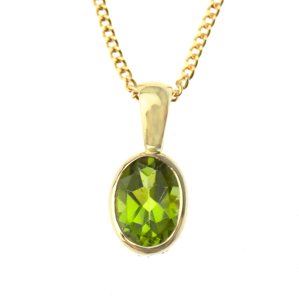 "9ct Yellow Gold Peridot Pendant & 16"" Chain"