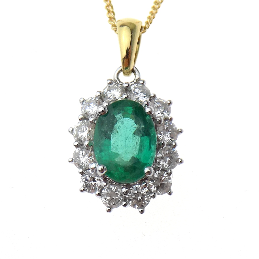 "18ct Yellow and White Gold Emerald and Diamond Cluster Pendant & 18"" Chain"