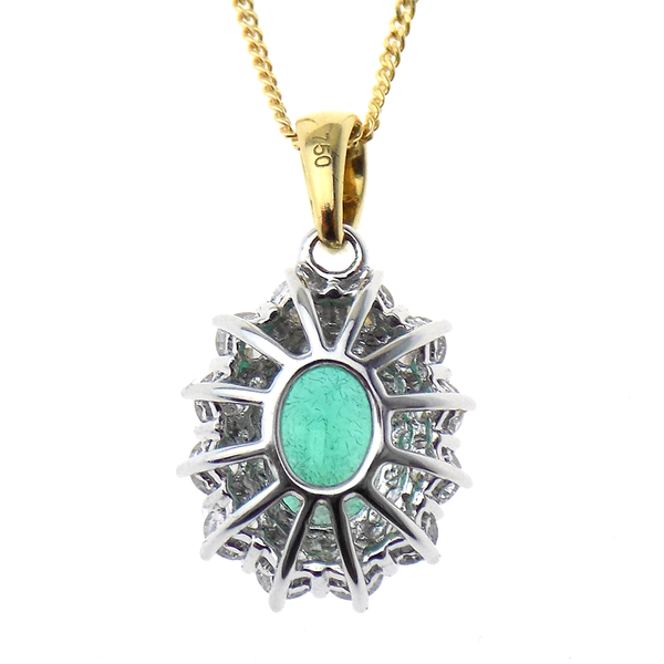 "18ct Yellow and White Gold Emerald and Diamond Cluster Pendant & 18"" Chain Reverse"